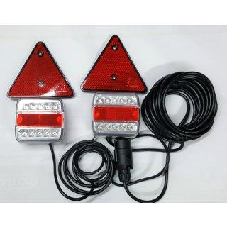 LED Rückleuchten Set 12/24V Rücklicht Anhänger Lichtbrücke7,5m Kabel