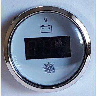 Voltmeter weiß mit Chromrand 12V 24V Spannungs  Batterieanzeige Anzeige Digital