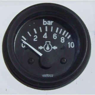 Oeldruckanzeige mit Geber 10 Bar Schwarz 52 mm 12 Volt Veethree