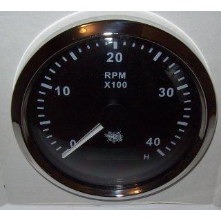 Drehzahlmesser 85 mm Diesel 0-4000 RMP Schwarz Blende Poliert für Boot Schiff