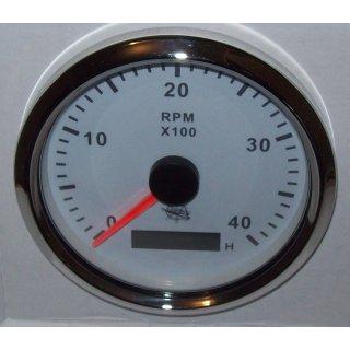 Drehzahlmesser 85 mm Diesel 0-4000 RMP weiß Blende Poliert