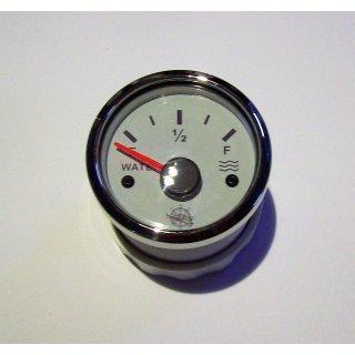 Tankuhr Tankanzeige Füllstandsanzeige für Wasser weiß 12/24Volt 10-180 Ohm