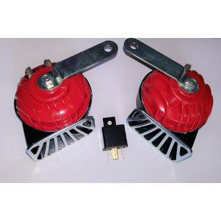 Elektro Zweiklang Fanfaren Set Oldtimer Motorrad Signalhorn Hupe 12V 110 dB