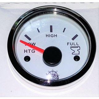 Schmutzwasser Grauwasser Waste Tankuhr Tankanzeige weiss poliert 10-180 Ohm