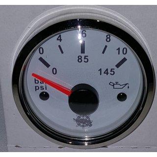 Öldruckanzeige weiß poliert 10 Bar Öldruck Anzeige Manometer 12V 24V  für VDO