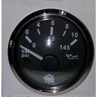 Öldruckanzeige schwarz/poliert 10 bar Öldruck Anzeige Manometer 12V 24V  für VDO