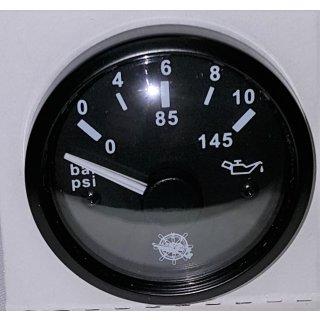 Öldruckanzeige schwarz  0-10 bar  12V 24V Öldruck Anzeige Manometer für VDO